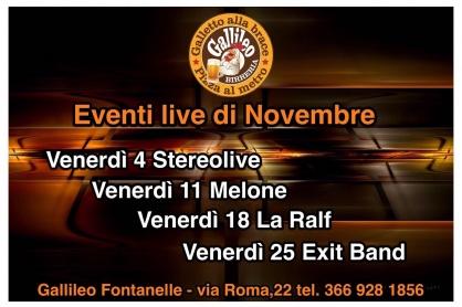 I concerti di novembre al Gallileo di Fontanelle